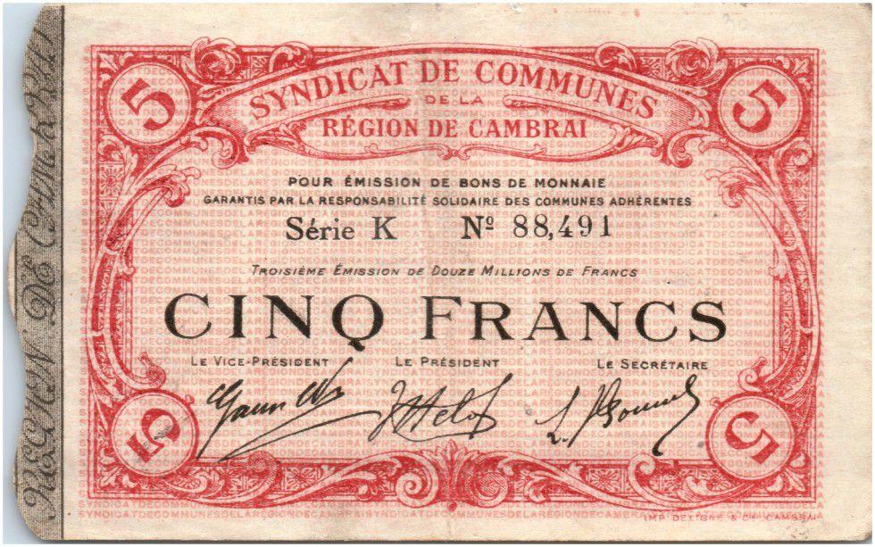france 5 francs cambrai city 1916 loading zoom