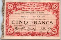 France 5 Francs Cambrai City - 1916