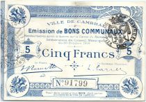 France 5 Francs Cambrai Commune - 1914