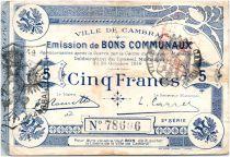 France 5 Francs Cambrai Commune - 1914