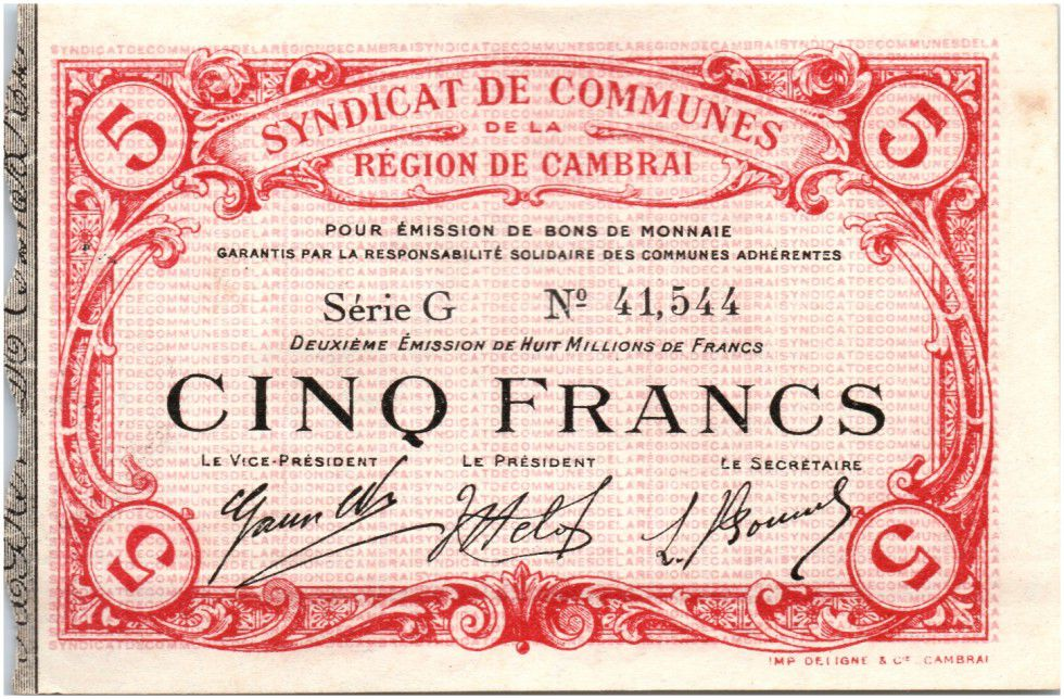 France 5 Francs Cambrai Commune - 1916