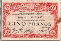 France 5 Francs Cambrai Commune - 1916