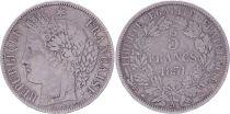 France 5 Francs Ceres - 1851 A Paris - Silver - F to VF