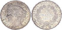 France 5 Francs Céres - III e République 1870 A Paris