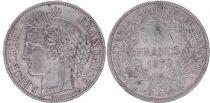 France 5 Francs Cérès - IIIeme République - 1870 A Paris - TB+