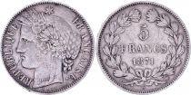 France 5 Francs Cérès - IIIeme République - 1871 K Bordeaux - TTB