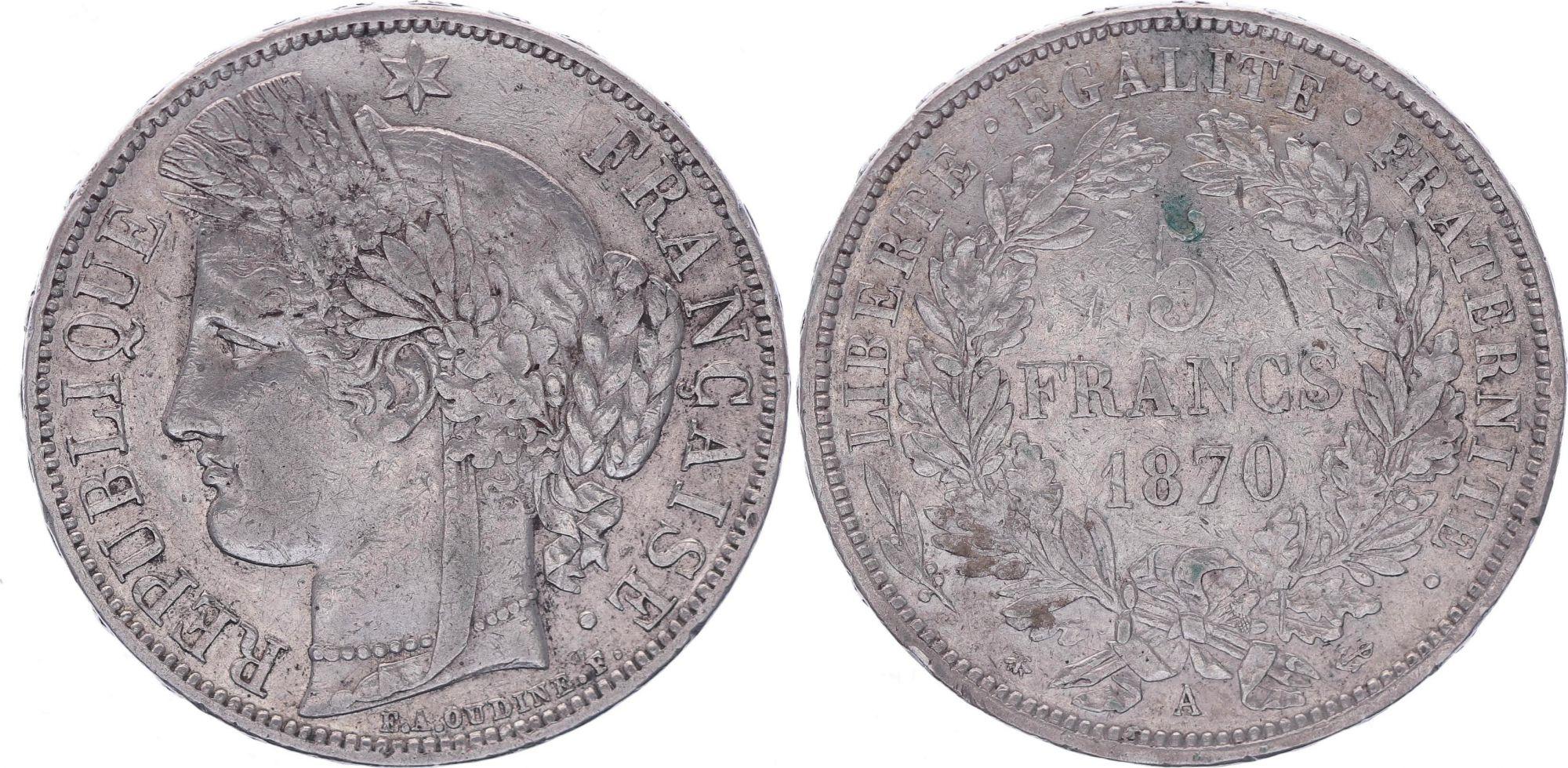 France 5 Francs Ceres - Third Republic - 1870 A Paris - F+