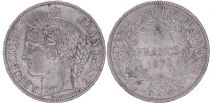 France 5 Francs Ceres - Third Republic - 1870 A Paris - F+