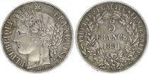 France 5 Francs Ceres IIe Republique - 1851 A Paris - Argent - TTB