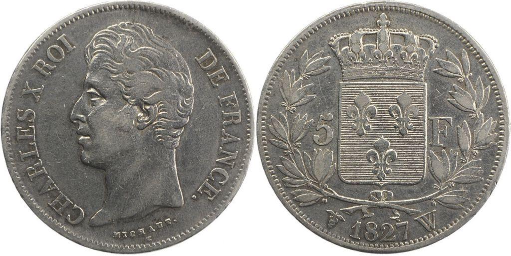 France 5 Francs Charles X - 2 em type - 1827 W Lille