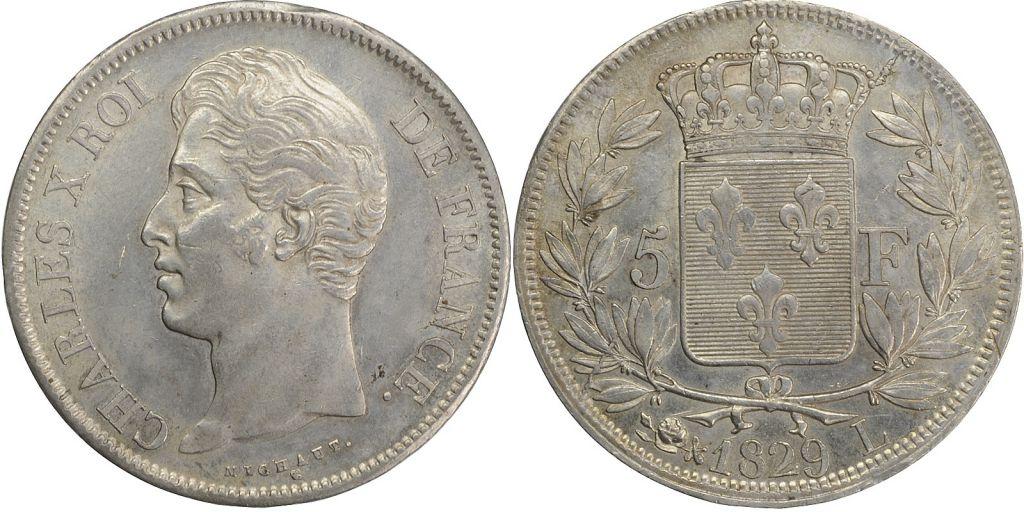 France 5 Francs Charles X - 2 em type - 1829 L Bayonne