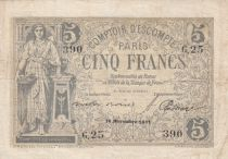 France 5 Francs Comptoir Escompte de Paris - 1871 - G.25