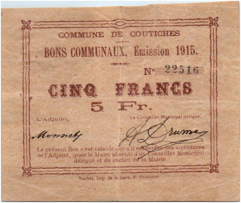 France 5 Francs Coutiches Commune - 1915