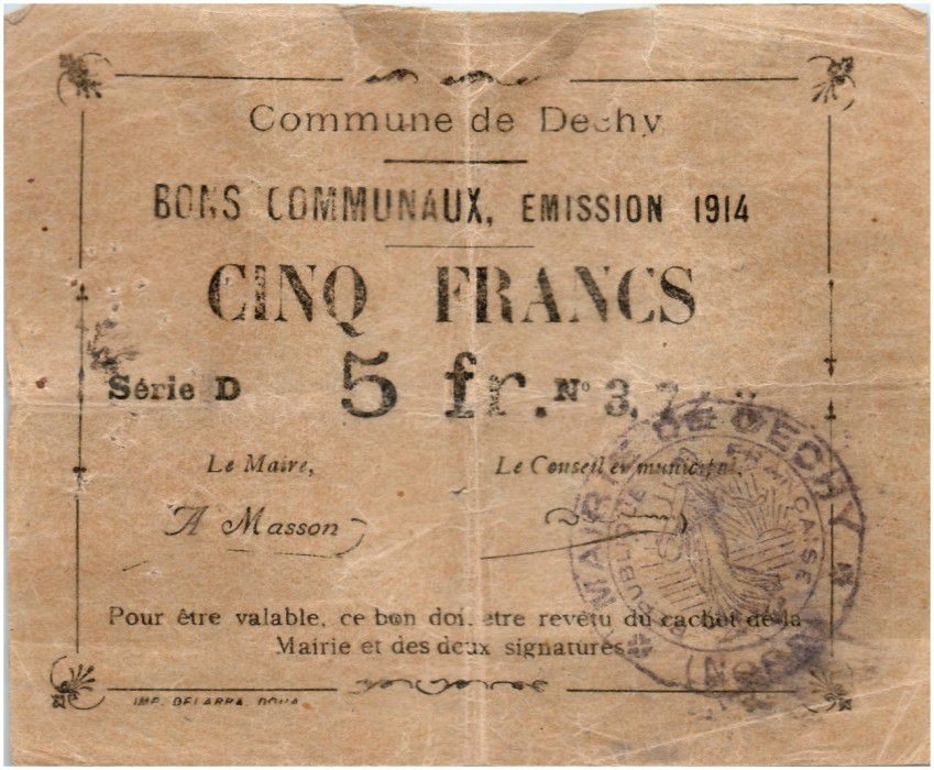 France 5 Francs Dechy City - 1914