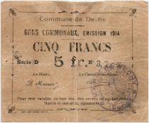 France 5 Francs Dechy City - 1914
