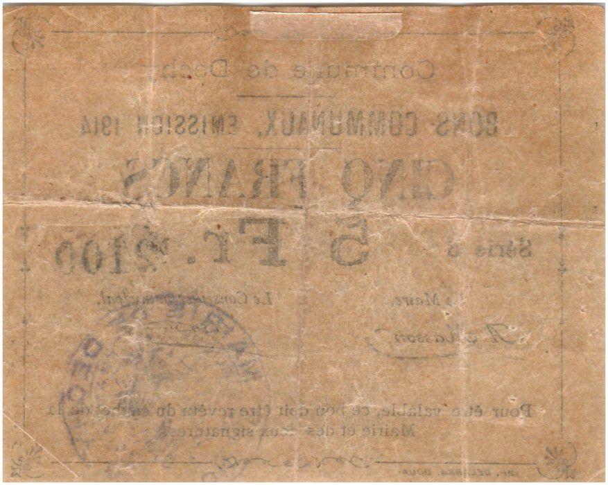 France 5 Francs Dechy Commune - 1914