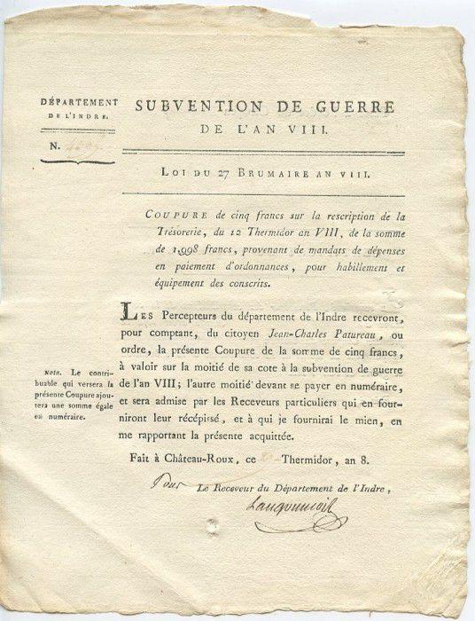 France 5 Francs Département de l\'Indre - An VIII