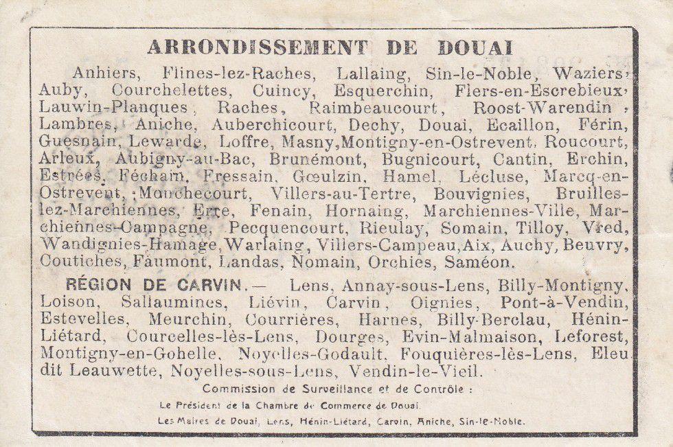 France 5 Francs Douai City - 1916