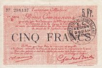 France 5 Francs Douai Commune - 1914