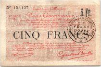 France 5 Francs Douai Commune - 1916