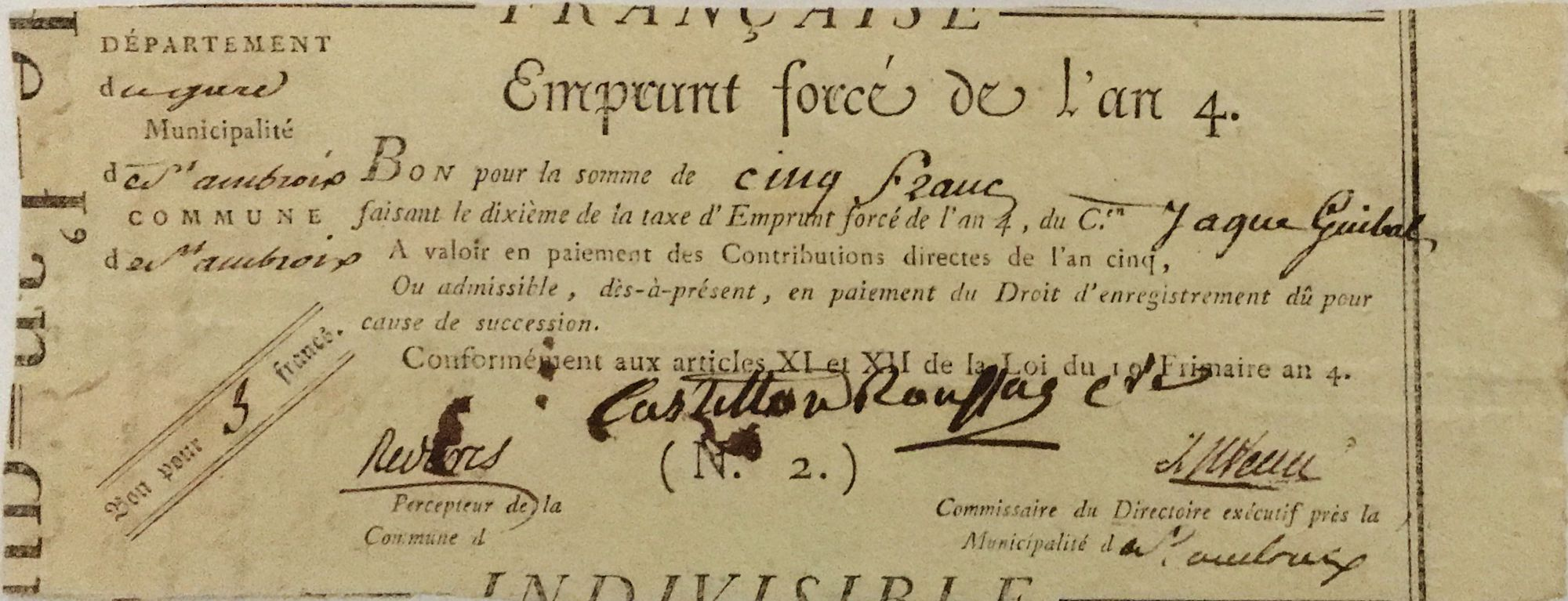 France 5 Francs Emprunt Forcé - An 4 (1796) - Gard - Saint-Ambroix - TTB
