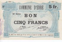 France 5 Francs Erre Commune - 1915