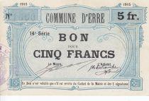 France 5 Francs Erre Commune - 1915