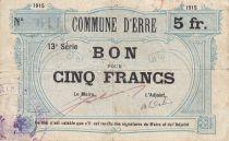 France 5 Francs Erre Ville - 1915