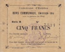 France 5 Francs Estrée City - 1914