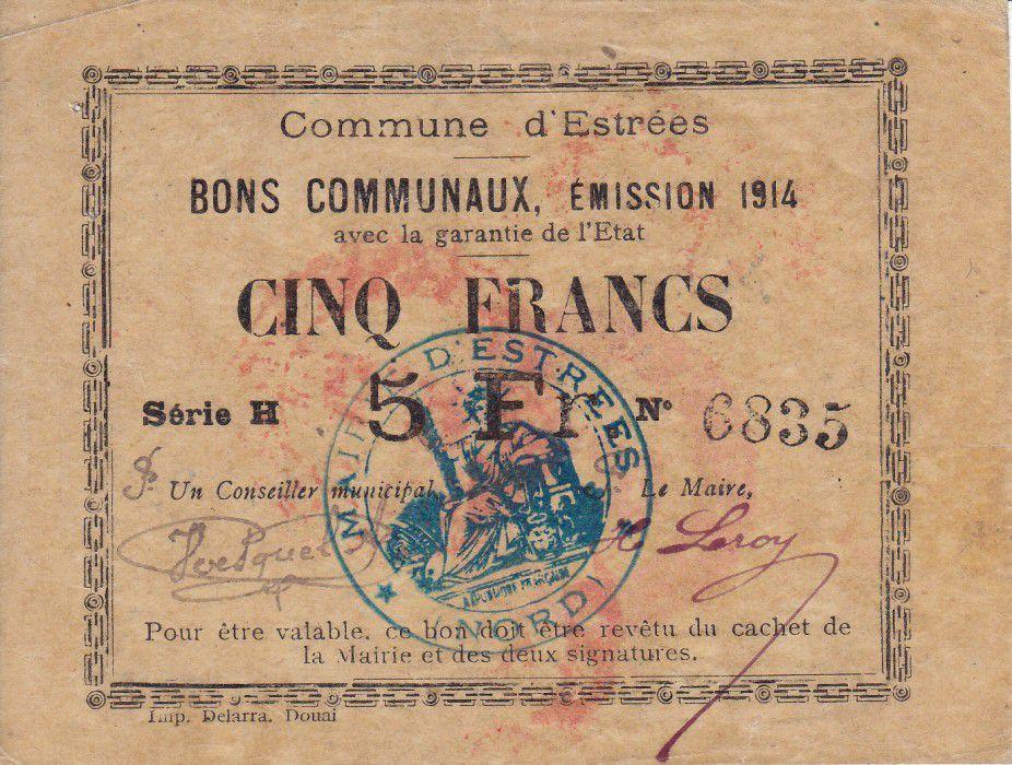 France 5 Francs Estrée Commune - 1914