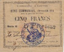 France 5 Francs Estrée Commune - 1914