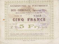 France 5 Francs Faumont Commune - 1914