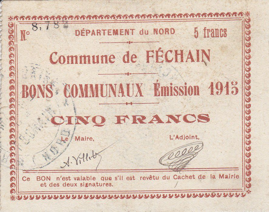 France 5 Francs Fechain Commune - 1915
