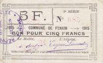 France 5 Francs Fenain City - 1915