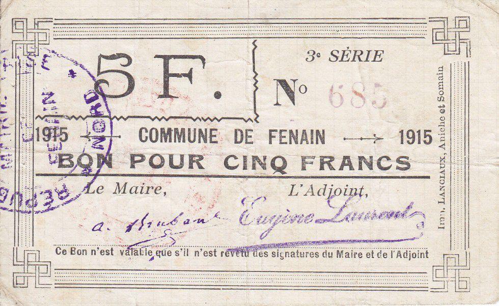 France 5 Francs Fenain Commune - 1915