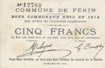 France 5 Francs Ferin City - 1914