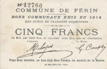 France 5 Francs Ferin City - 1914