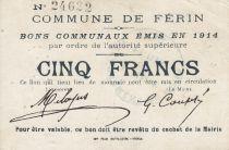 France 5 Francs Ferin Commune - 1914