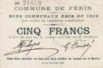 France 5 Francs Ferin Commune - 1914