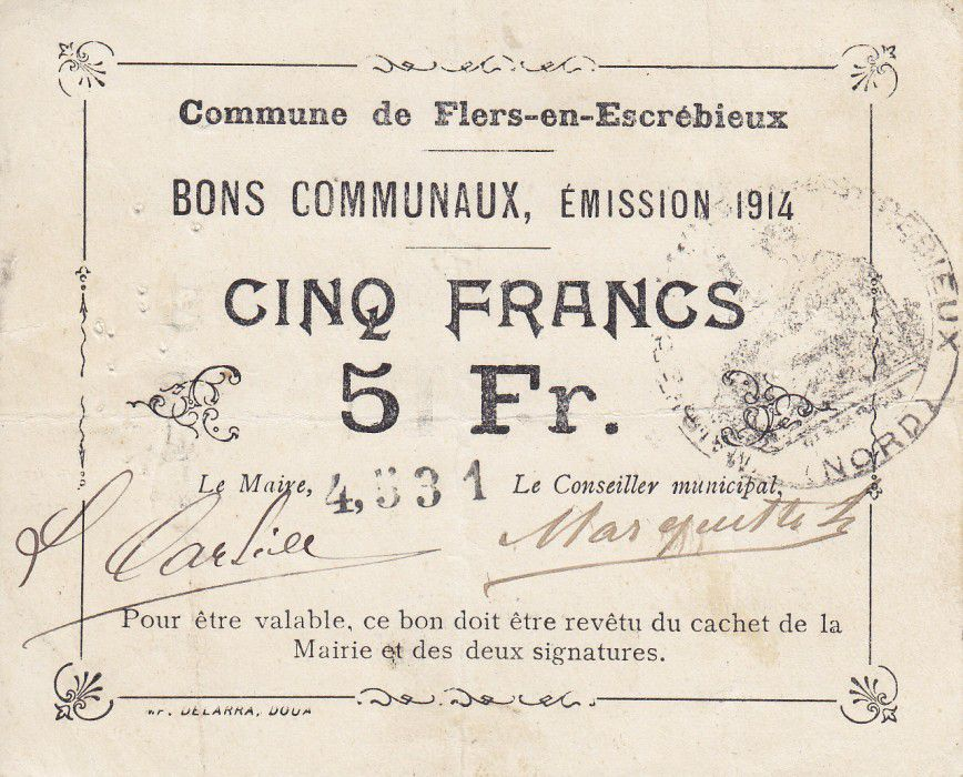 France 5 Francs Flers-En-Escrebieux Commune - 1914