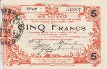 France 5 Francs Fourmies City - 1917