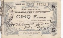 France 5 Francs Fourmies Commune - 1915