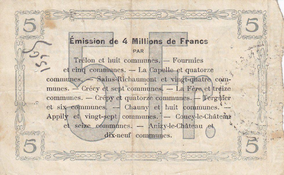 France 5 Francs Fourmies Commune - 1915