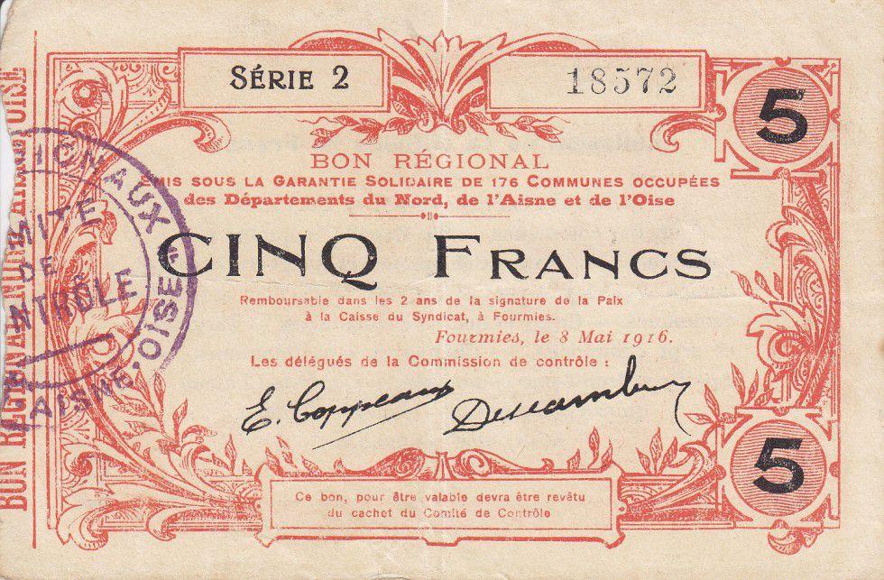 France 5 Francs Fourmies Commune - 1916