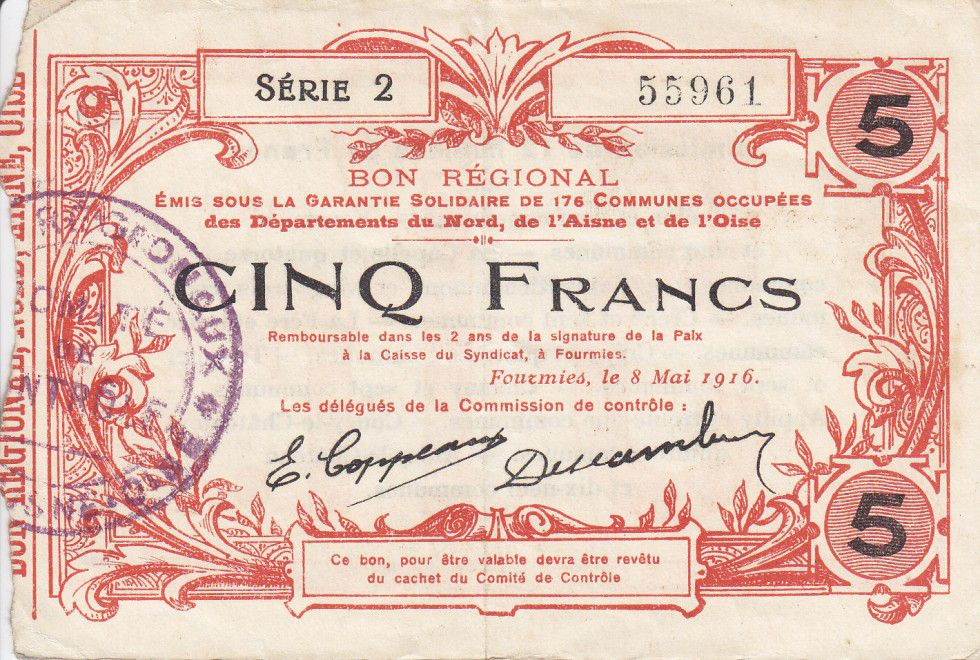 France 5 Francs Fourmies Commune - 1916