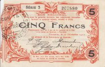 France 5 Francs Fourmies Commune - 1917