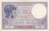 France 5 Francs Helmeted woman - 11-12-1917 Serial Z.68