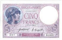 France 5 Francs Helmeted woman - 1920