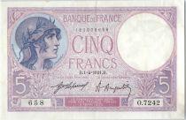 France 5 Francs Helmeted woman 01-04-1921 Serial O.7242