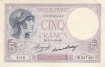 France 5 Francs Helmeted woman 02-03-1933 Serial W.53746 - VF